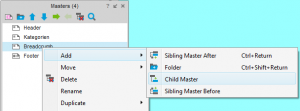 Abbildung 6: Add Sibling / Child Master
